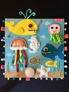 Sea life busy board/ activity board/ Sensory board/ nursery art/ baby& toddler toy I started making these boards for my daughter when she was about 6 months old and they still hold her interest now, almost 3 years later. The board is specifically designed that certain elements Toddler Sensory Bins, Sensory Toys, Sensory Activities, Toddler Toys, Baby Toys, Baby Play, Sensory Wall, Sensory Boards, Summer Crafts