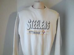 Pittsburgh Steelers  L Beige Embroidered Sweatshirt Nfl Football #logoathletic #PittsburghSteelers