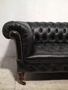 Victorian Leather Chesterfield sofa 'antique green'. £1,850.00, via Etsy.
