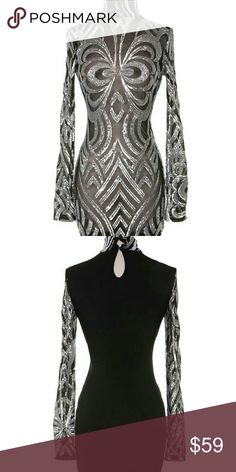 Sexy party dress Steal the show for new year's  in our Black sheer long sleeve Boston dress with silver  patterned sequins and high neck collar   All sizes available Material cotton,spandex 📢I will ship All orders out on Tuesday 📢 For full photos and description : www.queendomboutique.com Dresses Mini