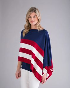 The perfect blend of cotton and cashmere is used in this red, white and blue poncho. A lightweight, relaxed topper creates an easy, yet timeless look for everyday wear. Wear over a sundress, or your favorite pair of denim, this topper is made of a soft blend of fine cotton and super fine Inner Mongolian cashmere in 2pl Cashmere, Bell Sleeve Top, Tunic Tops, Denim, American, Sweaters, How To Wear, Cotton, Outfits