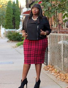 Style Journey: Hitting the Streets of Brooklyn In A Stories By Kelly Osbourne Corded Biker Jacket and Torrid'sTartan Midi Skirt