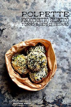 polpette di finocchietto selvatico, tonno e sesamo Fennel Recipes, Sicilian Recipes, Garlic, Tacos, Spices, Herbs, Fish, Breakfast, Ethnic Recipes