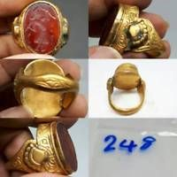Old Wonderful Medieval Gold gilding Agate intaglio STone Ring #248