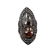 Natural 8.85ct Diamond Pave Rng Sterling Silver 14k Gold Victorian Style Jewelry #raj_jewels