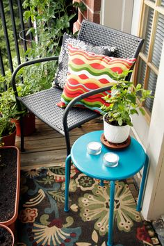 Though bright, its size won't overwhelm your porch. Even with a potted plant, this one has just enough space for your morning tea ... or your five 'o clock sangria. See more at All Put Together »  - GoodHousekeeping.com