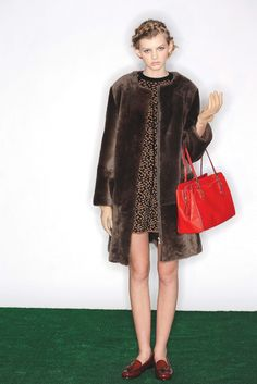 Fall 2013 Trend: Prim Witted (Marc by Marc Jacobs' shearling coat and ALC's rayon dress. Coach handbag; Carolina Amato gloves.)