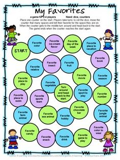 FREEBIE - Back to School Board Games - 3 printable Back to School Board Games by Games 4 Learning. Students share their favorites in this game.