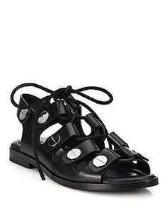 Alexander Wang Patricia Studded Leather Lace-Up Sandals