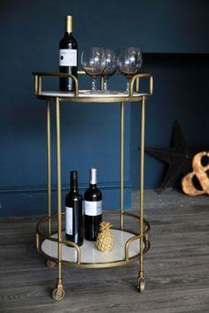 Gatsby Marble & Brass Effect Drinks Trolley - Coffee & Side Tables - Furniture Bar Trolley, Drinks Trolley, Bar Carts, Cocktail Trolley, Gatsby, Kitchen Storage, Kitchen Art, Bandeja Bar, Home Bar Accessories