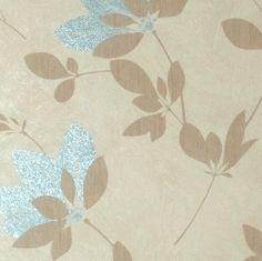 Világos kék virág mintás tapéta
