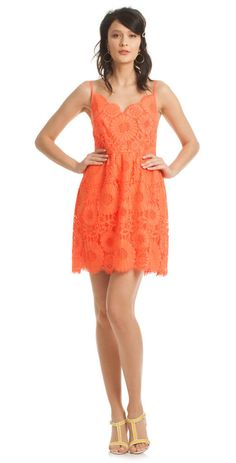 Well done, Trina Turk! Orange lace over champagne silky fabric. Perfect for spring cocktail parties and all summer long! #TrinaTurk #fashion2016
