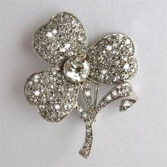 edwardian diamond clover leaf brooch