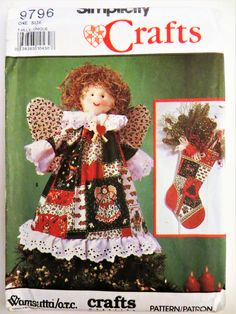 Simplicity Crafts 9796 Christmas Sewing Pattern, Angel Stocking, Placemats, Tree Skirt Ornaments, Holiday Decor, Uncut, Vintage Pattern by CatBazaar on Etsy