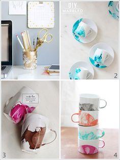Tazas de porcelana esmaltadas con aspecto de mármol | Decorar tu casa es facilisimo.com