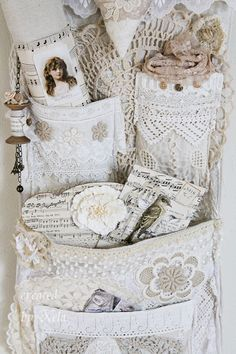 Beautiful Shabby Chic Wall pocket hanging! Must do!