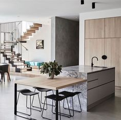 35 Modern Kitchen Ideas Balancing Natural Wood Impressions Trending Best Modern Kitchen Design Accentuated by Exotic Wooden Elements Part Home Decor Kitchen, Interior Design Kitchen, Modern Interior, Home Kitchens, Kitchen Ideas, Kitchen Inspiration, Modern Kitchens, Kitchen Modern, Dream Kitchens