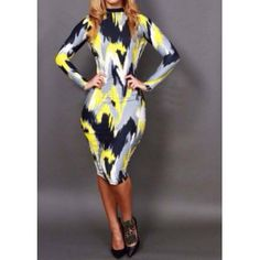 $18.32 Trendy Style Round Collar Long Sleeve Print Backless Bodycon Women's Dress