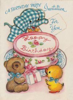 birthday party invitations, birthday parties, vintage birthday, vintag birthday