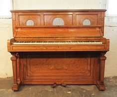 Edwardian (1901-1910) Antiques Well Loved And Used. Upright Victorian Piano With Fluting And Inlaid Decoration