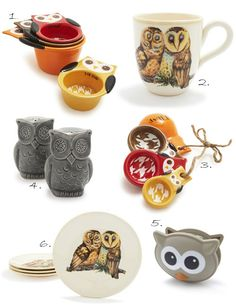 Sur La Table - owls  1. Owl Measuring Cups  2. Owl Mug  3. Owl Measuring Spoons  4. Owl Salt & Pepper Shaker Set  5. Talking Owl Bag Clip  6. Owl Salad Plate