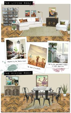 Living room and Dining room story board collages