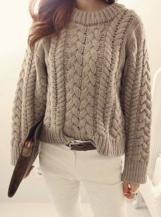 Round Neck Long Sleeves Solid Color Cable-Knit Casual Sweater For Women