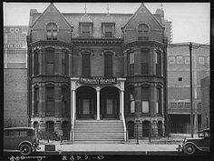 This is a picture of the hospital on 9th and Douglas that occupied the former brothel belonging to madam Anna Wilson. Anna was an intriguing figure in Omaha, NE history. She bequeathed this building to the city in her will.
