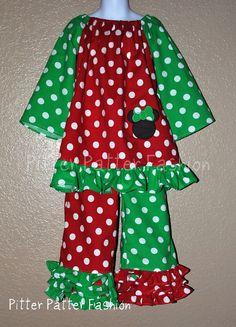 Custom 2 piece Boutique Ruffle Christmas by pitterpatterfashion, $49.00 @Miranda Morrison