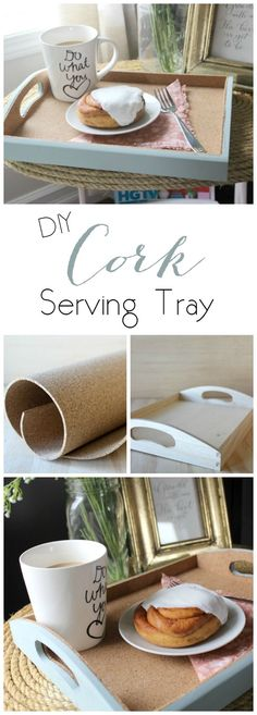 Love this simple DIY Cork Serving Tray. Perfect gift for Mother