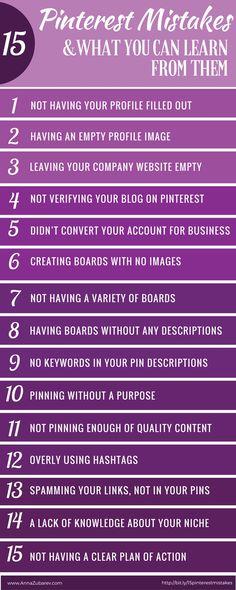 15 Pinterest Mistakes and What You Can Learn From Them via @annazubarev via @https://www.pinterest.com/annazubarev/