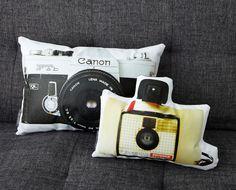 vintage camera canvas printed photo pillow
