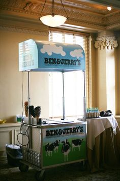 Ben & Jerry's ice cream bar at your wedding would be a pretty cool dessert bar idea.