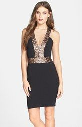Dress the Population 'Rylee' Sequin Strap Crepe Body-Con Dress