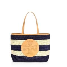 Tory Burch PerforatedLogo Straw Tote ($245) ❤ liked on Polyvore featuring bags, handbags, tote bags, blue, totes, tory burch tote bag, stripe tote bag, tory burch purse, blue tote bag and stripe tote