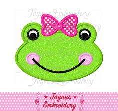 Instant Download Girl Frog Face Applique by JoyousEmbroidery