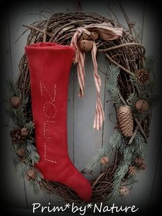 Primitive Red Wool Noel Stocking Twig Wreath Christmas FolkArt | eBay