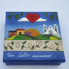 Caja de Madera Un Bello Amanecer  pintada a mano por ENMADERA, $590.00