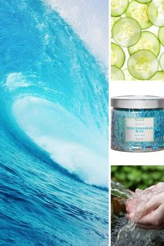 Mediterranean Blue - Cleansing, refreshing and crisp this scent is a rejuvenating infusion of cucumber, cooling aromatics, citrus and crystal spring waters - https://candlesulite.partylite.co.uk/Shop/Category/1166