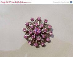 Holiday Sale Vintage Pink rhinestone brooch by PaganCellarJewelry, $12.34