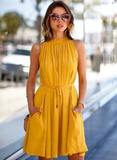 The dress is featuring round neck, sleeveless, solid color and midi length. The dress is casual and elegant. The dress is suitable for party, vacation, daily wear and many occasions. Short Mini Dress, Short Dresses, Summer Dresses, Mini Dresses, Pleated Dresses, Dresses Dresses, Elegant Dresses, Beach Dresses, Formal Dresses