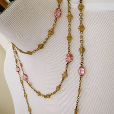 Antique French Pink Paste and Fancy Links Long Guard Flapper Necklace in Jewelry & Watches, Vintage & Antique Jewelry, Costume | eBay