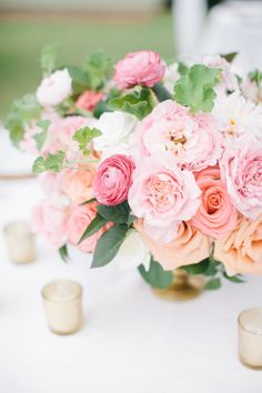 Pink and green floral arrangements add freshness to a beautiful summer garden wedding. Coral Centerpieces, Wedding Table Centerpieces, Wedding Flower Arrangements, Floral Arrangements, Centerpiece Flowers, Centrepieces, Centerpiece Ideas, Floral Wedding, Wedding Flowers