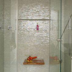 Sparklingly modern bathroom - irridescent mosaic tiles. Would look great against dark grey/ blue walls