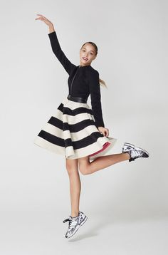Dasha Gauser coat-dress with the black and white stripe skirt and a front zipper. Stripe Skirt, Coat Dress, Street Chic, Cheer Skirts, Ballet Skirt, Black And White, Stylish, Designer Coats, Clothes
