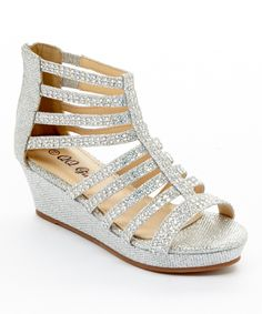 Look what I found on #zulily! Silver Glitter Rhinestone Cloud Gladiator Wedge by QQ Girl #zulilyfinds