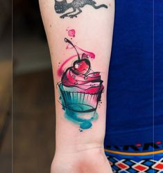 Cupcake Tattoo With Cherry on Top
