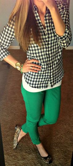Green colored jeans with a checkered button up