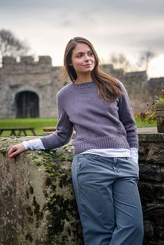 Crewneck sweater knitting pattern with cable details. Beginner cable sweater knitting pattern. Travelling Cable Sweater pattern by The Fibre Co. knit in The Fibre Co. Cumbria Fingering