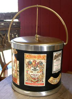 Vintage Liquor Label Theme Ice Bucket by FairMarket on Etsy, $16.00